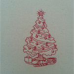 Machine Embroidery Quilt/Craft Block Redwork Fanciful Christmas Tree Design