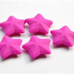3 x Silicone Star Beads - Fuschia