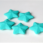 3 x Silicone Star Beads - Turquoise