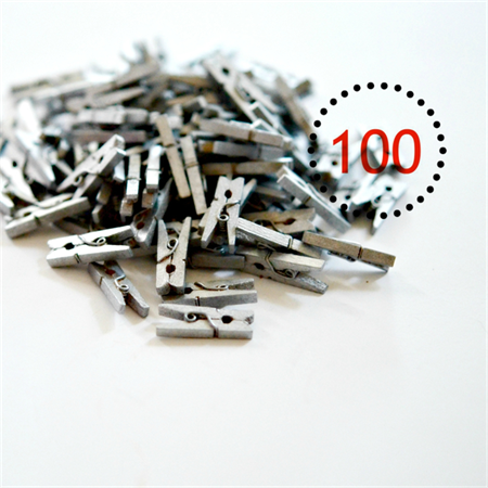 Silver Mini Pegs {100} Wood Gift Wrap Scrapbooking Embellishments