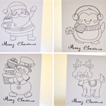 DIY Cards 4 x Colour In Xmas Cards Kids Art & Craft Santa & Friends XMAS026