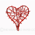 20 Red Heart Wire Tags