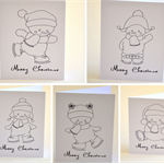 DIY Cards 5 x Colour In XMAS Cards Snowmen Kids  & Art Craft
