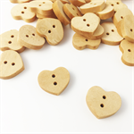 100 x Tiny Wood Heart Buttons