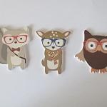 3pcs Handmade Wooden Glasses Owl, Fox, Deer Animal Charms / Pendants HW008B