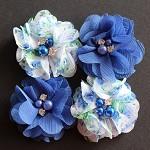 4 Chiffon Flower Rhinestone Royal Blue and Floral