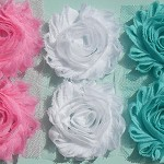 Pink, White & Aqua shabby chiffon flowers - Six Pack for hairclips & craft.