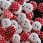 20 Red and White Polka Dot Wood Buttons.