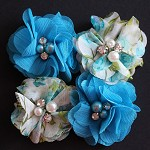 4 Chiffon Flower Rhinestone Pearl- Turquoise and Floral