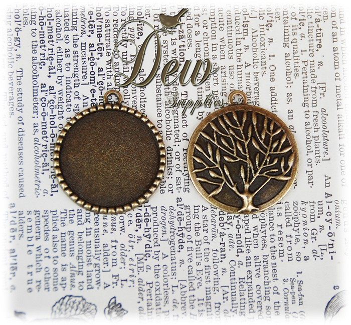 10 x Bronze Round Pendant Trays with Tree Of Life On the back, cabochon blank