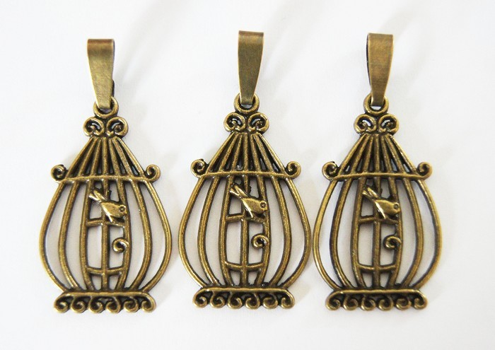 3 Birdcage Charms