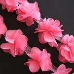 6 Shabby Chic Dark Pink Bella Fabric Flower Embellishments