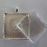 10 x DIY 35mm Square Silver plated pendat kit with longer length rolo chain