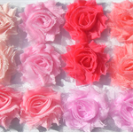 12 Just Pink small shabby chiffon flowers - for millinery, craft & hairclips