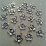 20 Antiqued silver - finished Flower Charm Great for any Craft idea