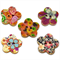 100 pcs. Assorted colorful flower wood buttons