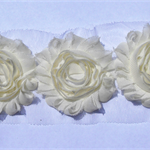 10 x ivory shabby chiffon rose flowers - trim for hairclips & craft