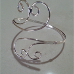 1 Bracelet bangle silver-plated iron curled ends