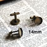 10 x Cuff link blank tray flat round 14 mm bronze