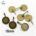 20 x Bronze 18 mm Earring trays dangling lever back earring bezels