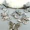 10 Butterfly Charms- Antique Silver