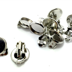 Clip on Earrings , 12mm Bezel Setting - 10pcs - Platinum