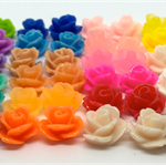 30x Resin Flowers, Cabochons - Rose Sampler (10x7mm)