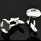 10 x12mm Silver Plate Cufflink Trays & 10 x 12mm Glass Domes