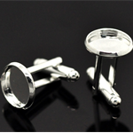 10 x12mm Silver Plate Cufflink Trays & 10 x 12mm Glass Domes