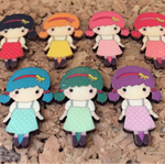 7x Wooden Girl Embellishments