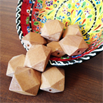 10 Unfinished Wooden Beads Flat Polygon 25mm in size