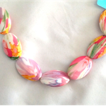 Floral patterned Acrylic Resin Beads x 7