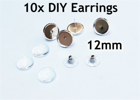10 x 12mm stud Earrings Findings Setting with trays, glass inserts, backs
