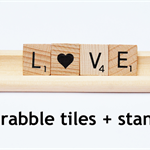 scrabble tile word Love 4x letters with scrabble tile rack stand