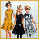 Vintage 60s Dress Sewing Pattern Simplicity 7750 Semicircle skirt, dropped waist