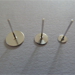 20 x earring studs with glue pad AND rubber backs - Silver plated