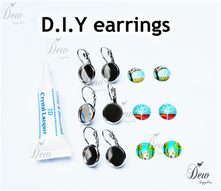 10 x 12mm Earring Findings D.I.Y includes trays and cabochon inserts glue