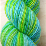 Hand Dyed Sock Yarn, Knitting Yarn, fingering weight, 4-ply in lime green, aqua