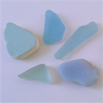 Blue tumbled sea glass 5 pieces