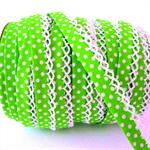 Retro lime polka-dot bias (double fold), decorative lace edge, 5 mtrs ♥