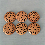 6 large gorgeous floral patterned wood buttons for your project! ♥
