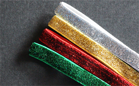 4 Christmas Colours Glitter Elastic Headbands One Set Only