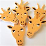 6 Giraffe Pattern Wooden Buttons