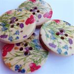 4 Colour Flower Pattern Wooden Buttons 30mm