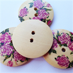 4 Colour Rose Pattern Wooden Buttons 30mm
