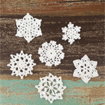 Pack of 6, white crochet  snowflake motive, mixed size, appliqué #3