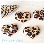 Leopard Print Fabric HEART 💝 appliqués embellishments