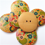 6 Multi Coloured Flower Pattern Wooden Buttons 30mm