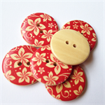 6 Red Flower Pattern Wooden Buttons 30mm