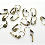 10 Antique Bronze Earring Wires with glue pad (5 pairs)